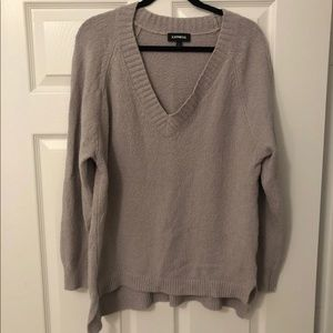 Express Oversized Tunic Textured Knit Gray Sweater